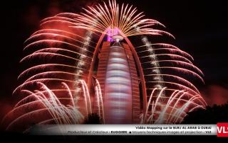 vidéo mapping dubai avec feux d'artifice par VLS