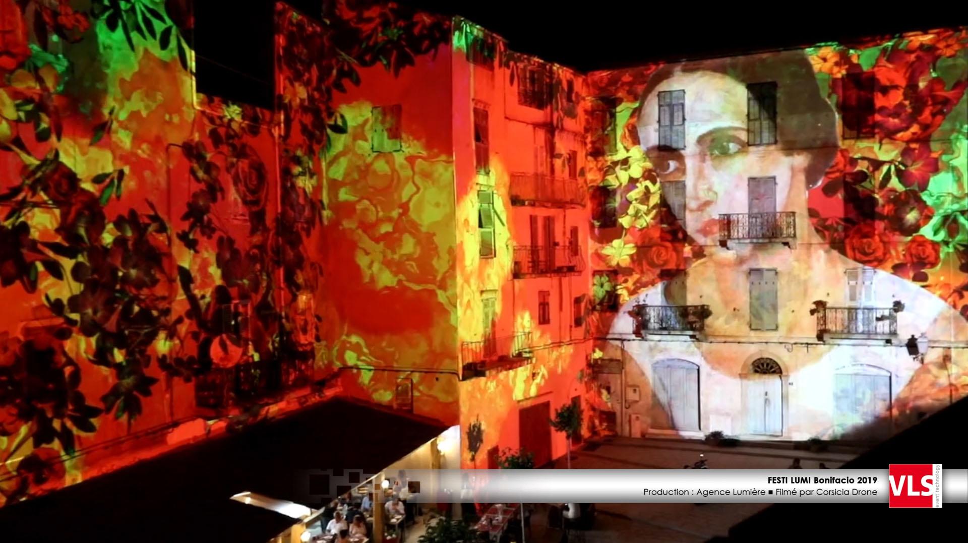 animation en vidéo mapping d'une place à Bonifacio