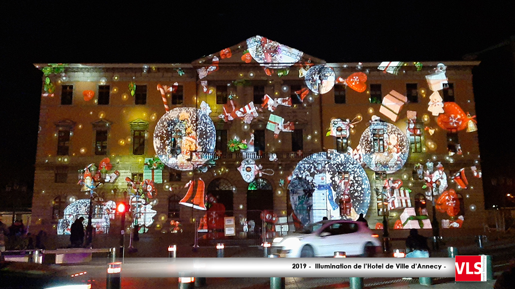 Illumination hotel de ville d'Annecy Son et Lumière Noel 2019