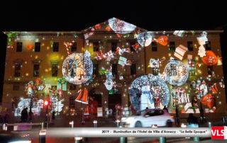Illumination hotel de ville d'Annecy Son et Lumière La Belle Epoque 2019