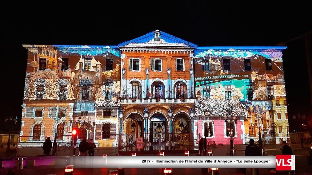 Mapping vidéo sur la mairie d'Annecy 2019