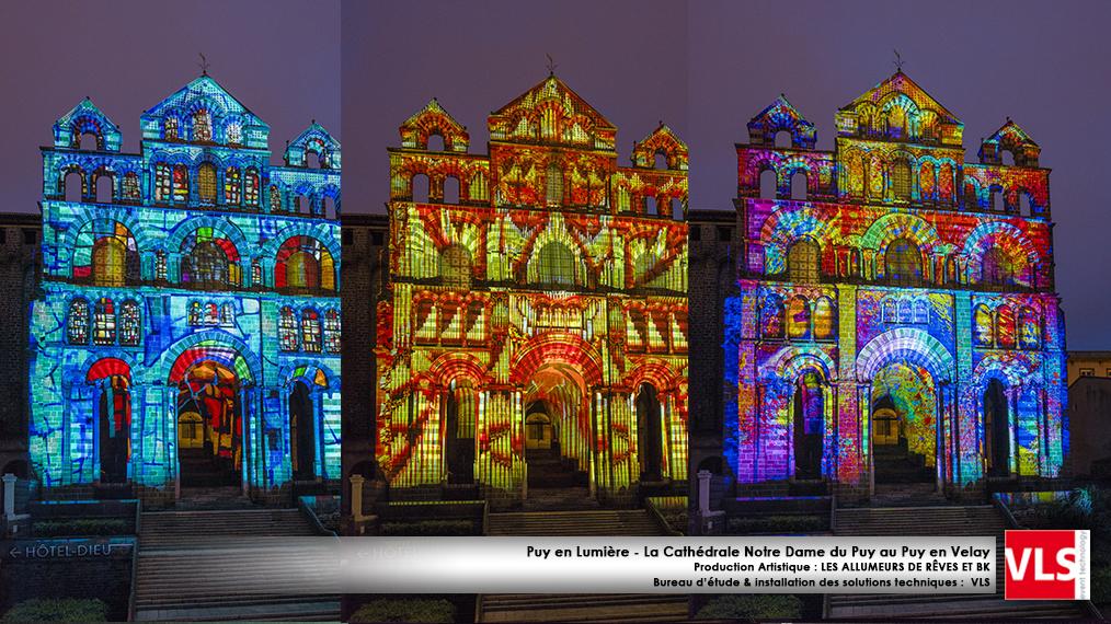 Mapping monumental Puy de Lumière installation perenne Puy en Velay