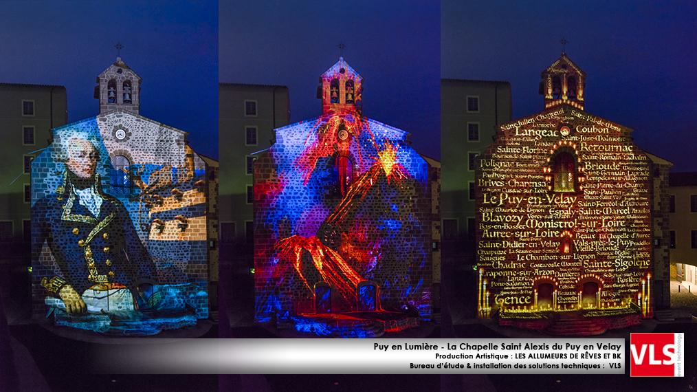 Mapping monumental sur lchapelle Saint alexis du Puy en Velay - installation de solution perenne
