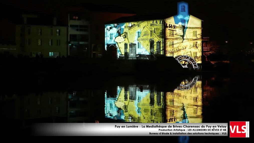 installation mapping permanent -Puy en Lumières-La Médiathèque de Brives-Charensac du Puy en Velay