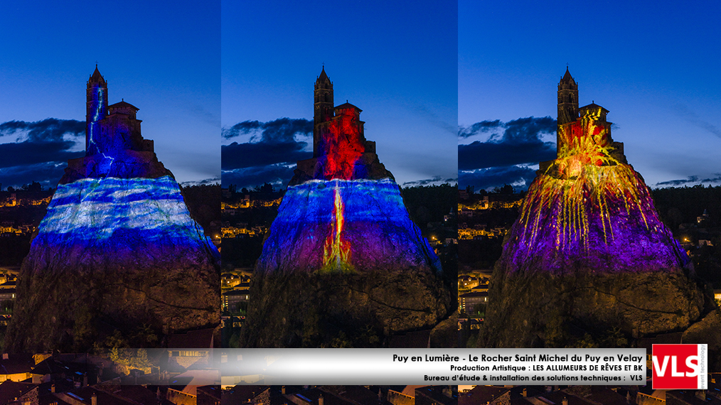 Mapping monumental sur le Rocher Saint Michel du Puy en Velay - installation de solution perenne