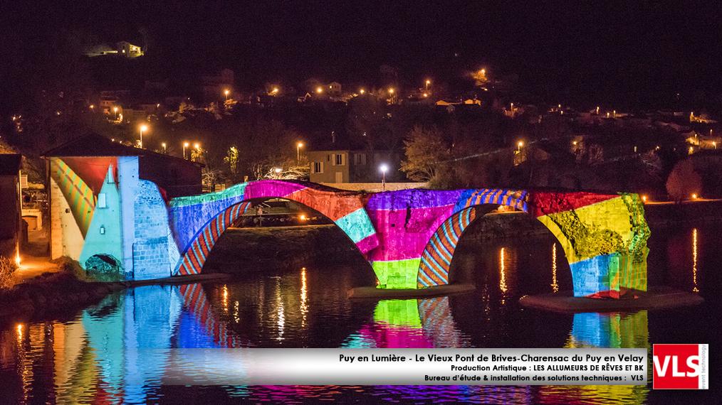 installation mapping monumental permanent -Puy en Lumières-Le Vieux Pont de Brives-Charensac du Puy en Velay