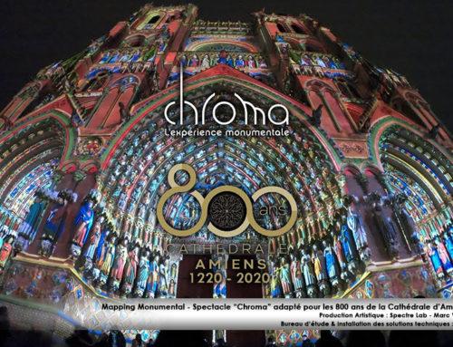 Mapping monumental Cathédrale d'Amiens Spectacle «Chroma» – anniversaire des 800 ans